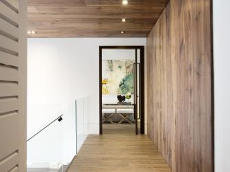 Modern Hallway With Wood Ceiling, Accent Wall