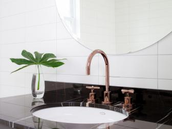 Contemporary Bathroom With Rose Gold Faucet