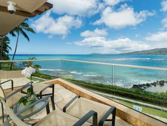 Oceanfront View From Deck With Glass Balcony