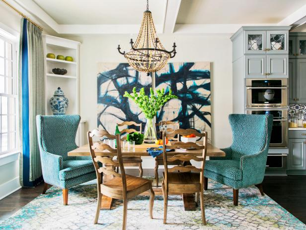 HGTV Smart Home 2016 Blue and White Dining Room