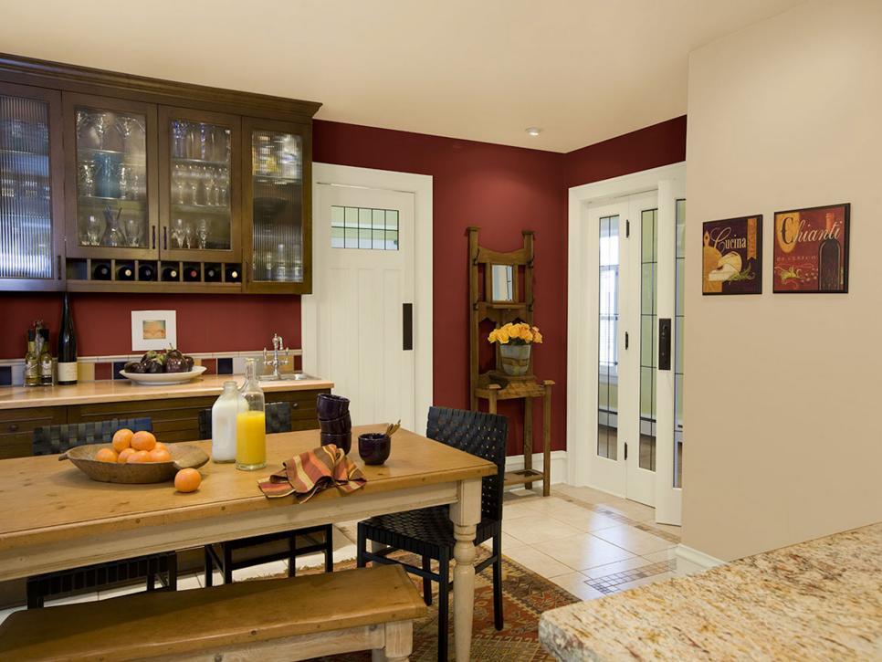 Burgundy Painted Kitchens