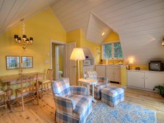 Yellow Guest Apartment With Vaulted Ceiling