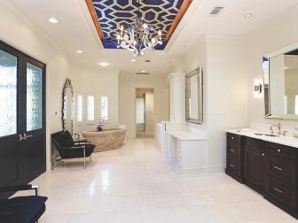 Transitional Black and White Bathroom With Patterned Tray Ceiling