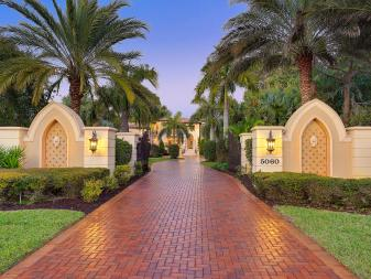 Classic Brick Paver Driveway for Mediterranean-Style Home