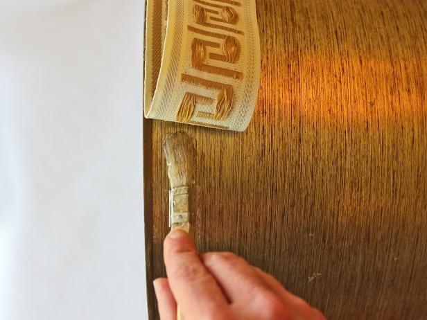 Adding Greek Key Trim to Lampshade