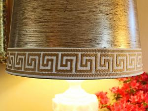 Old Lampshade Updated With Trendy Greek Key Trim
