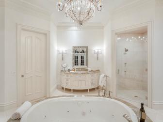 White Traditional Bathroom With Crystal Chandelier