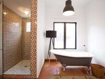 Black and White Master Bath with Spanish Tile
