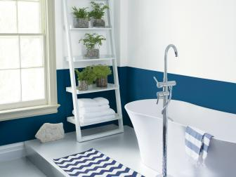 Blue and White Bathroom With Plants