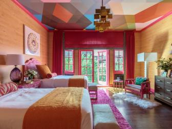 Retro Orange and Pink Palette Made Fresh in Joyful Bedroom