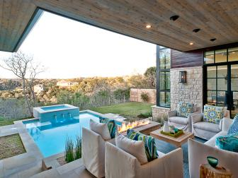 Contemporary Pool And Porch With Pine Ceiling