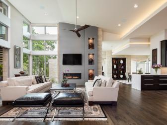 Contemporary Open Great Room With Gray Fireplace