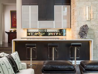 Contemporary Home Bar With Black Cabinets