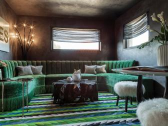 Moody Color Palette, Lively Accents Create Lounge-Like Atmosphere