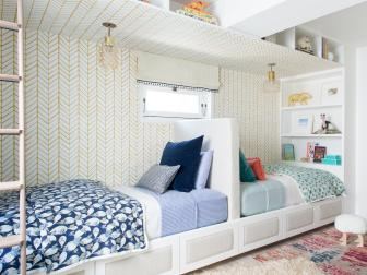 Bunk Room Includes Ample Storage for Two Kids and Their Stuff