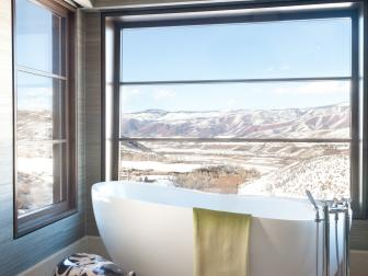 Contemporary Bathroom With Wall-to-Wall Mountain View