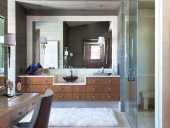 Contemporary Bathroom With Gray Textured Wallpaper