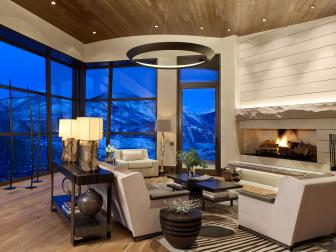 Contemporary Living Room With Stunning Mountain View