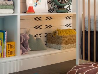 Eclectic Nursery Bookshelf Styling With Vintage Fan
