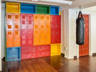 Brightly Colored Lockers at Pereira & O'Dell Athletic Facility