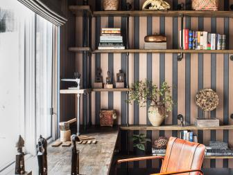 Home Office With Striped Wallpaper