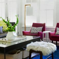White Eclectic Living Room With Jewel Toned Decor