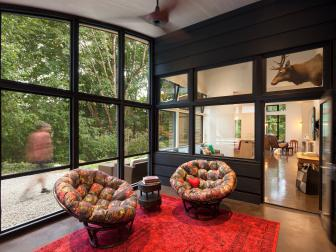 Red and Black Sunroom