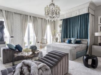 Elegant White and Blue Master Bedroom Draped in Silk
