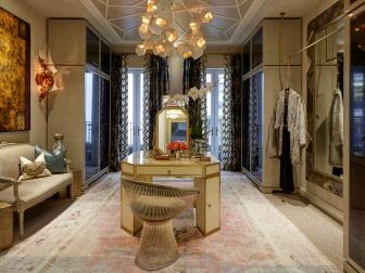 Transitional Dressing Room With Art Deco Glamour