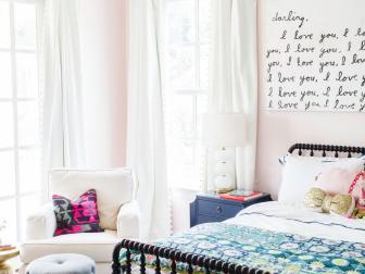 Pink Transitional Girl's Bedroom With Crown Light