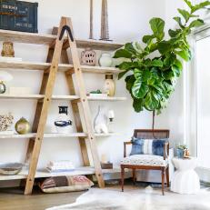 Eclectic Sitting Area With Ladder Shelf