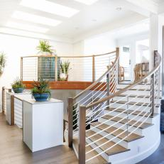 White Great Room Stairs With Metal And Wood Railing