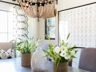Neutral Spanish Coastal Dining Room With Beaded Chandelier