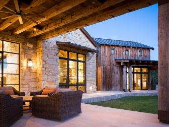 Rustic Outdoor Living Room on Texas Ranch