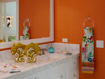 Orange Bathroom With Colorful Towel