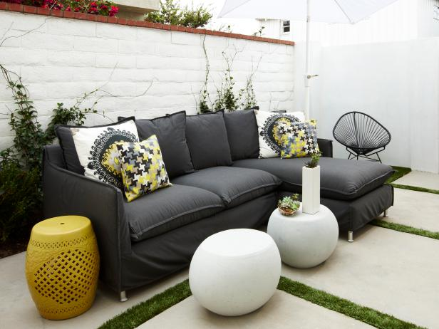 White Contemporary Patio With Sectional