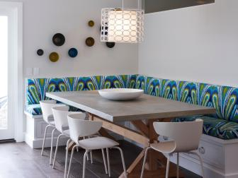 Multicolored Contemporary Dining Room With Banquette
