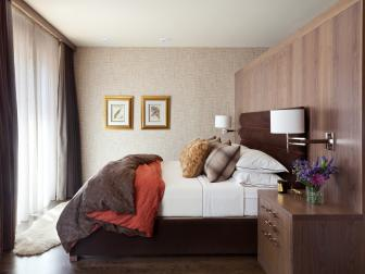Brown Contemporary Bedroom With Orange Duvet