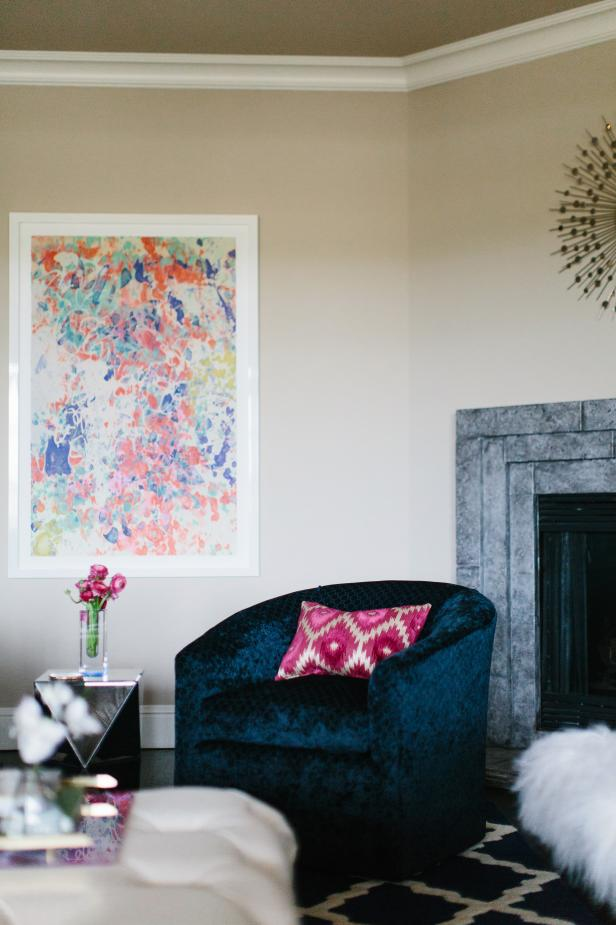 Blue Armchair and Colorful Art