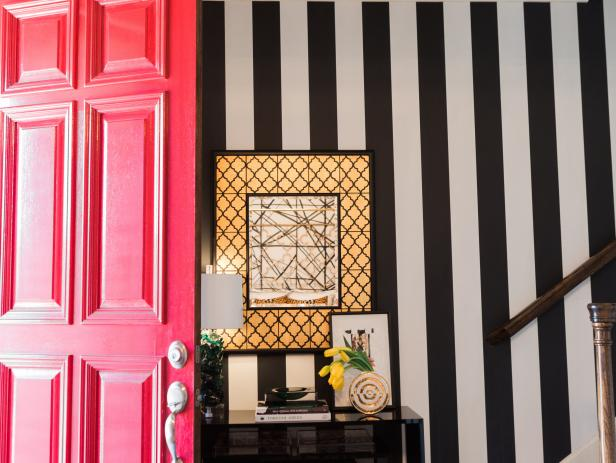 Eclectic Black-and-White Foyer With Stripes