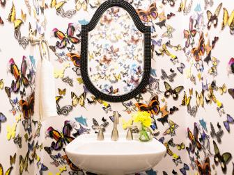 Powder Bathroom With Butterfly Wallpaper