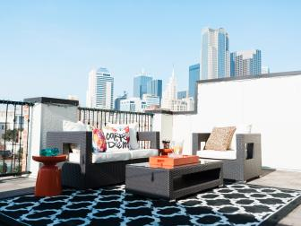 Rooftop Patio With Black and White Rug