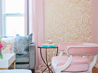 Pink and Gold Eclectic Sitting Room With Gold Wallpaper