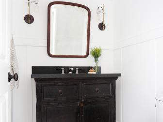 Powder Room With Hexagon Tile Floor and Single Vanity