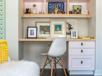 Eclectic Tween Bedroom With Built-In Desk