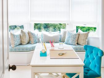 Bright Bay Window Bench With Blue Pattern Cushion By Contemporary White Desk With Vibrant Tufted Velvet Chair
