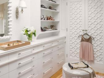 Contemporary Walk In Closet With Decorative Double Door Closet, Rose Pink Rug and Open Shelf Shoe Storage