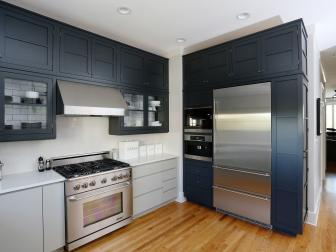 Black and Gray Cabinets in Transitional Kitchen