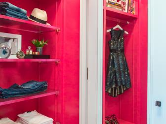 Hot Pink Wardrobe, Marbled Wallpaper Add Sophistication to Dressing Room