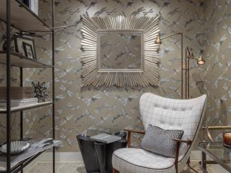 Glam Wallpaper, Furnishings Turn Walk-In Closet Into Cozy Mom Cave